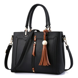 Elegant Tassel Adornment PU Satchel