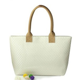 Concise Knitted Pattern PU Tote Bag
