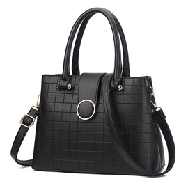 Trendy Plaid Pattern Solid Color Satchel