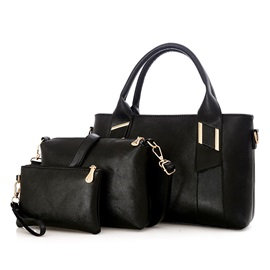 Stylish Solid Color Women Bag Set