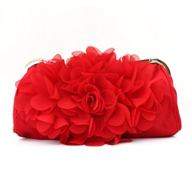 Silk Floral Design Solid Color Evening Clutch