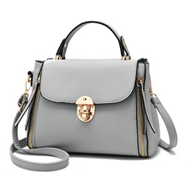 Concise Solid Color Latch Design Women Satchel