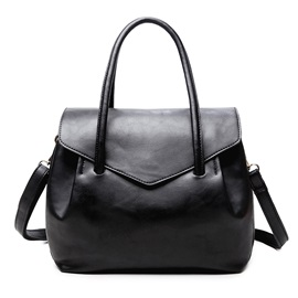 Simple Solid Color Soft PU Women Satchel