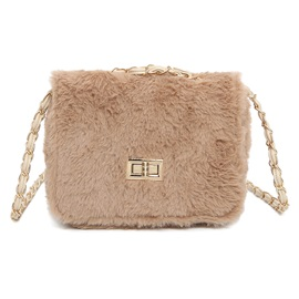 Korean Style Solid Color Plush Crossbody Bag