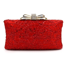 Luxurious Bow Rhinestone Lace Evening Clutch