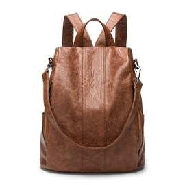 Vintage Soft PU Zipper Backpack