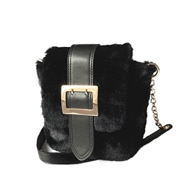 Belt-Decorated Solid Color Plush Women Satchel