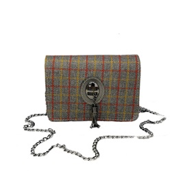 Casual Plaid Chain Cross Body Bag