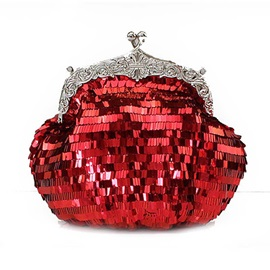 Shining Sequins Solid Color Evening Clutch