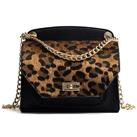 Leopard Pattern Chain Crossbody Bag