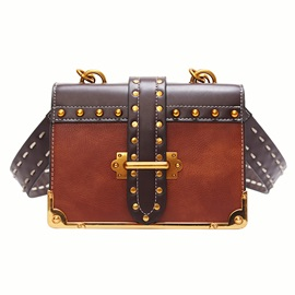 Box Shape Color Block Rivet Women Crossbody Bag