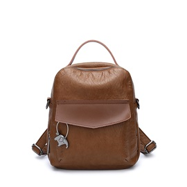 Korean Style Plain PU Backpack
