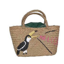 Toucan Embroidery Women Straw Bag