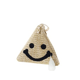 Smiling Face Pattern Straw Women Clutch