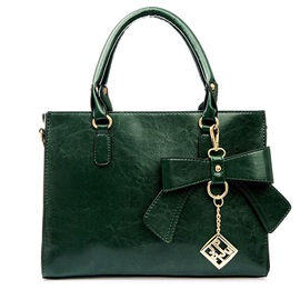 Korean Style Bow Decoration PU Women Satchel