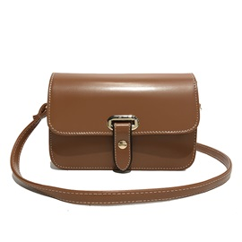 Vintage Solid Color PU Crossbody Bag
