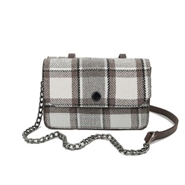 Simple Plaid Cross Body Bag