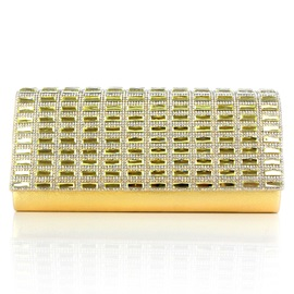 Concise Pleated Rhinestone Decoration Clutch