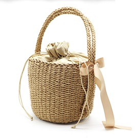 Barrel-Shaped Knitted Grass Fabric Bag
