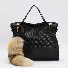 New Female Fake Fox Wool Tassel Vintage Tote Bag