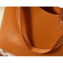 New PU Brown Belt Design Strap Women Tote Bag