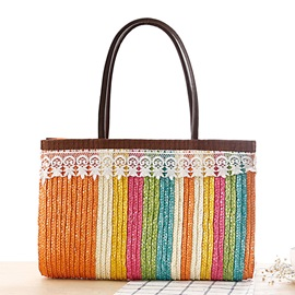 High Quality Color Block with Lace Adornment Women Straw Bag