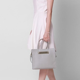 Solid Color Silver Handle Women Tote Bag