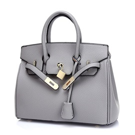 High Quality Pure Color Lock Women Satchel