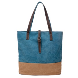 Vintage Preppy Color Block Canvas Tote Bag