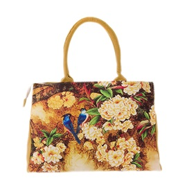 Shopping Canvas Hop-Pocket Folk Printing Tote Bag
