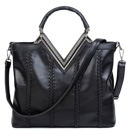 Matched Solid V Collar Tote Bag