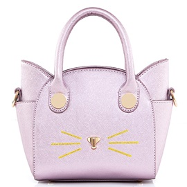 Cute Kitty Type Cross Grain Zipper Tote Bag
