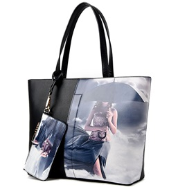 Trendy Cartoon Beauty Print Tote Bag