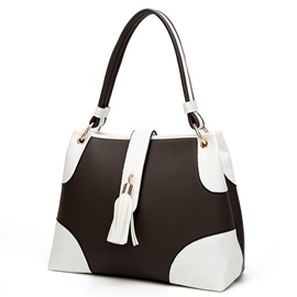 All-match Color Block Tassel Tote Bag