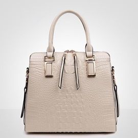 Solid Color Crocodile Pattern Tote