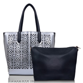 Hollow Double Zipper Design Tote Bag
