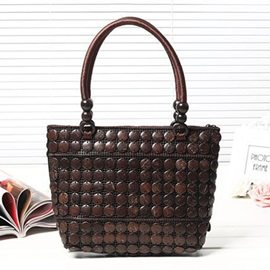 Ethnic Style Coconut Woven Tote Bag