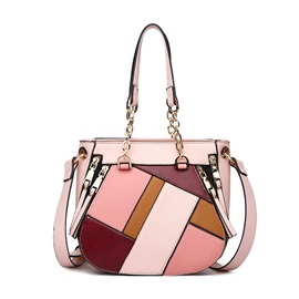 Geometric Pattern Color Block Women Satchel
