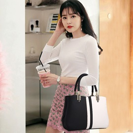 Fashion Color Block Zipper Soft Tote Bag