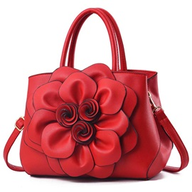 Floral Applique PU Barrel-Shaped Tote Bags