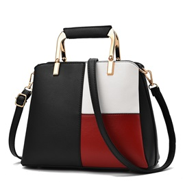 Color Block PU Shell Tote Bags