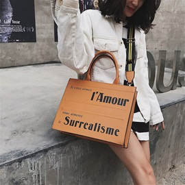 Letter PU Thread Square Tote Bags