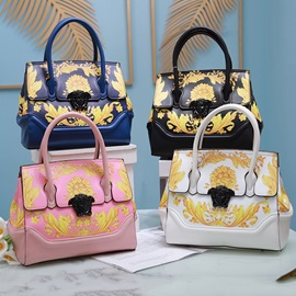 PU Floral Thread Rectangle Tote Bags