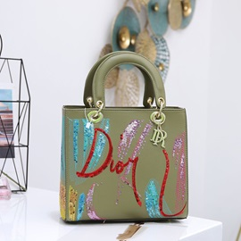 Thread PU Letter Rectangle Tote Bags