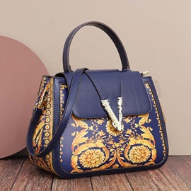 Floral Thread PU Rectangle Tote Bags