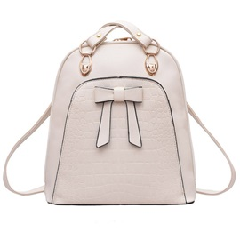Solid Women Backpack with Bow