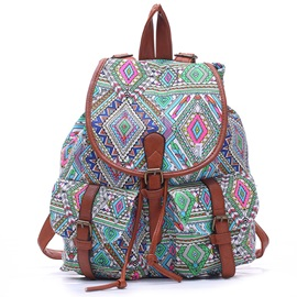 Snap-Cover Pattern Canvas Women Backpack