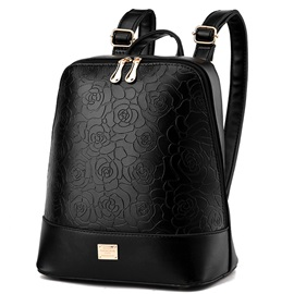 Rose Embossed Pure Color Backpack