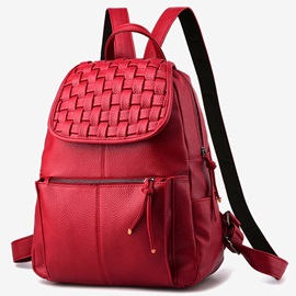 Solid Color Knitted Snap Backpack