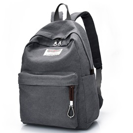 Casual Unisex Solid Color Canvas Backpack